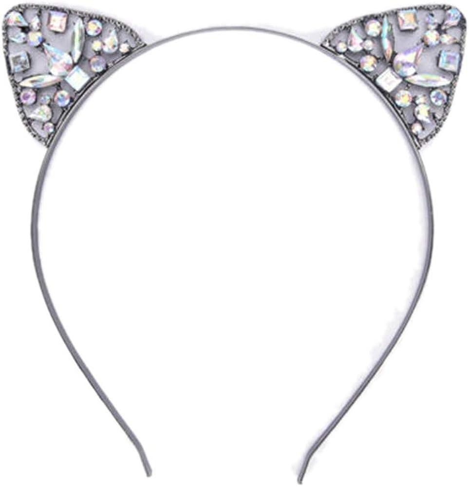 ZOONAI Women Girls Cat Animal Ears Headband Rhinestone Hair Band Headwear Accessories Party Daily Decoration