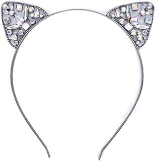 عصابة رأس من زوناي للنساء والفتيات بتصميم أذن قطة وحيوانات من حجر الراين إكسسوار للحفلات اليومية