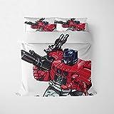 YZDM – Juego de cama Transformers, 2/3 piezas, 3D, estampado de microfibra suave con funda de edredón y funda de almohada, para adultos y adolescentes (B,140 x 210 )