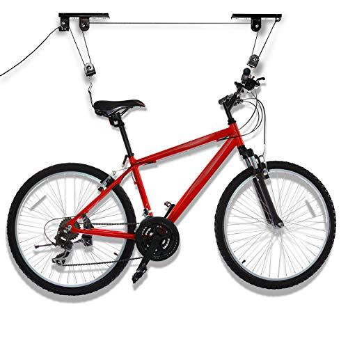 Oramics Bike Lift bis zu 20 KG Tragkraft – Fahrradaufhängung für Garage und Keller – Fahrradlift mit Seilzug zur Deckeninstallation – Deckenhalter mit Flaschenzugfunktion (1x Bike Lift)