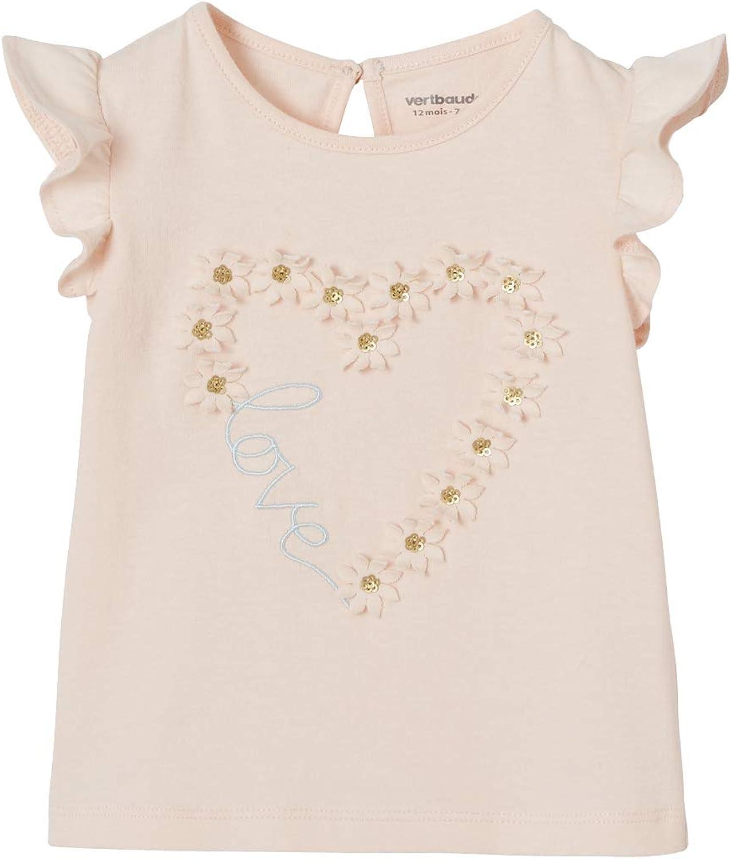Vertbaudet Baby M/ädchen T-Shirt mit Volant/ärmeln
