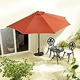 [page_title]-habeig Sonnenschirm halbrund rechteckig Wandschirm für Balkone oder Terrassen Polyester Aluminium, ca. 270 cm breit (Terrakotta #65)
