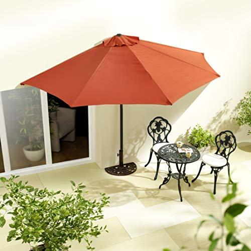 habeig Sonnenschirm halbrund rechteckig Wandschirm für Balkone oder Terrassen Polyester Aluminium, ca. 270 cm breit (Terrakotta #65)