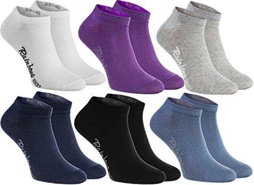 Rainbow Socks - Damen Herren Baumwolle Bunte Sneaker Socken - 6 Paar - Weiß Violett Grau Dunkelblau Schwarz Jeans - Größen 36-38