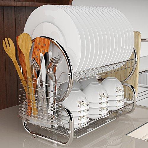 Ultrey Geschirrtrockner Abtropfgestell 2 Etagen aus Edelstahl Geschirrständer abtropfregal geschirr Abtropfständer 44x25x38cm für Besteck wie Teller Tassen usw. (Silber)