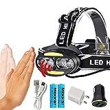 HSZH Phare Zk20 Capteur de Mouvement corporel inductif 30000lm LED Lampe Frontale Lumière 4 * T6 + 2 * COB Dropshipping Phare Phare + 2x18650 Batterie D