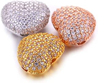 Naomi 5pcs/lot DIY Jewelry Fashion Findings Components Micro Pave CZ Rhinestone Spacer Beads Charms Luxury Cubic Zirconia Crystal Heart Bead Fits Silver one Size