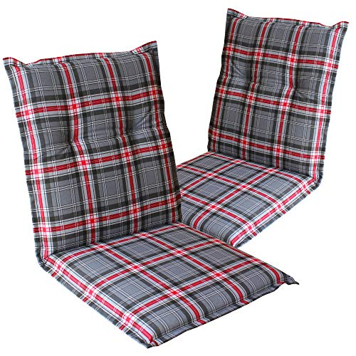 Dulma – Cojín con respaldo para silla de jardi 'Naxos' 98 x 49 x 6 cm – Núcleo de espuma – Cintas de fijación – EU – ÖkoTex100, Karo Grau-rot 2133, Set x2