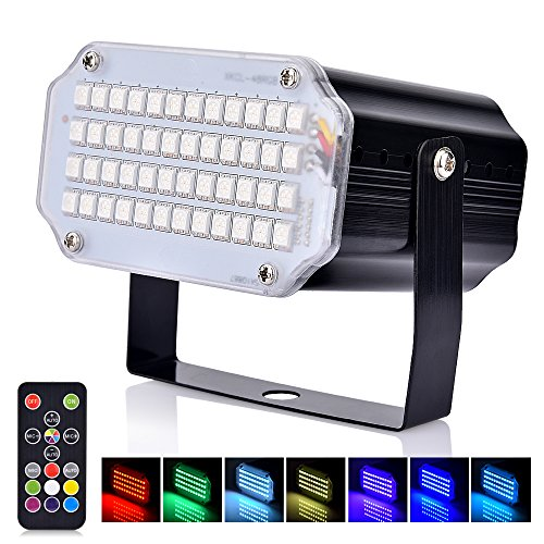 BASEIN Stroboskop Light, 48 LED Strobe Light mit Fernbedienung, Sprachaktivierte und Flash Speed RGB LED-Blitzlichter für Party, Geburtstag, Bar, Disco DJ, Hochzeit und Weihnachten (Bunt)