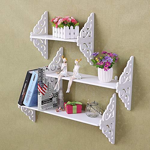 AUNMAS Estante de Almacenamiento Conjunto de 3 estantes de Pared Blanca Tallada para exhibición de estantería Flotante para la decoración del hogar
