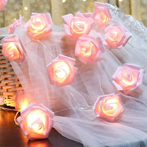Rose Fairy String Lights, 20 LED Pink Rose Flower Indoor Fairy Lights Christmas Valentine's Day Wedding Decorations, Battery Powered Gift for Girls Pink Rose light for Home Indoor Outdoor Bedroom