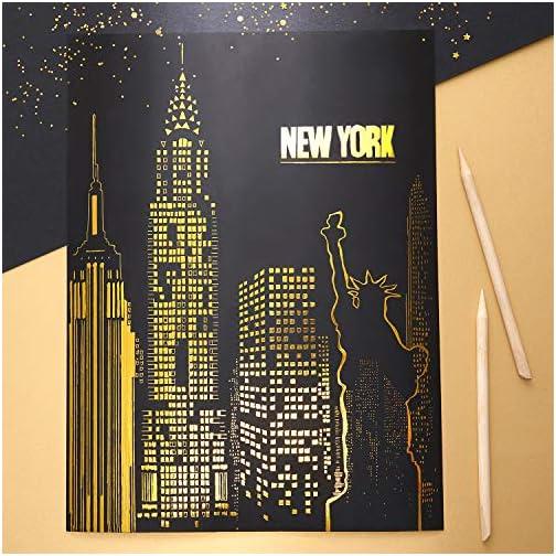 Arteza Scratch Paper Set of 42, 10.9x8.2 inch Sheets, Art Set Include: 4 Unique Patterns, 4 Scratchers, 4 Stencils, 4…  
