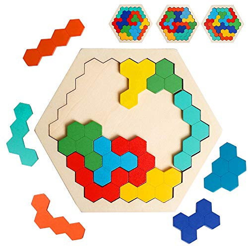 USATDD Wooden Hexagon Puzzle for Kid Adults Shape Pattern Block Tangram Brain Teaser Challenge Toy Geometry Logic IQ Game STEM Montessori Educational Learning Gift for All Ages Children Kid Boys Girls