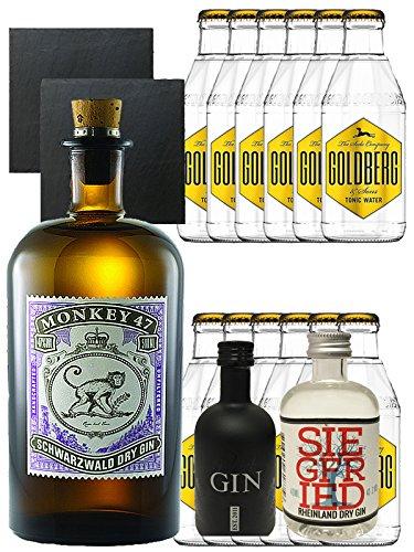 Gin-Set Monkey 47 Schwarzwald Dry Gin 0,5 Liter + Black Gin Gansloser Deutschland 5cl + Siegfried Dry Gin Deutschland 4cl + 12 x Goldberg Tonic Water 0,2 Liter + 2 Schieferuntersetzer quadratisch 9,5 cm