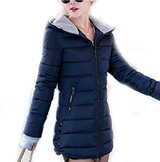 New Years eve Gifts Women Winter Hooded Warm Coat Slim Candy Color Cotton Padded Basic Jacket Female Medium-Long