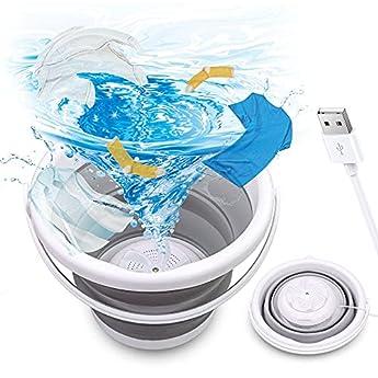 Foto di Mini lavatrice a ultrasuoni, portatile, per lavanderia, pieghevole, alimentata tramite USB, mini lavatrice automatica, per viaggi in casa, appartamenti