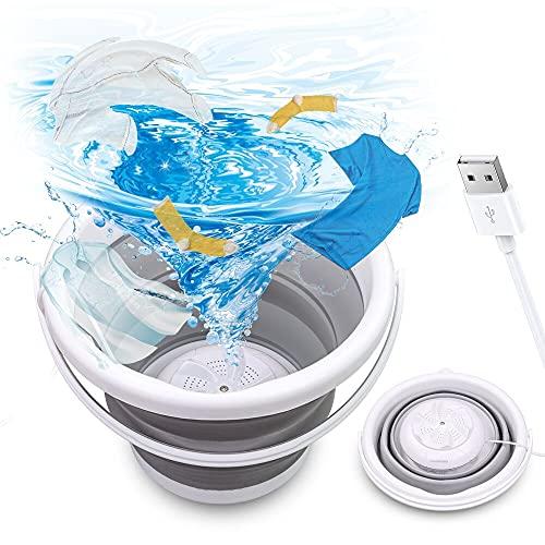 Mini Lavadora, Lavadora Ultrasónica Portátil Tina de Lavandería Plegable Alimentada por USB, Mini Lavadora Automática de Turbina Lavadora Pequeña para Viajes en Casa, Apartamentos