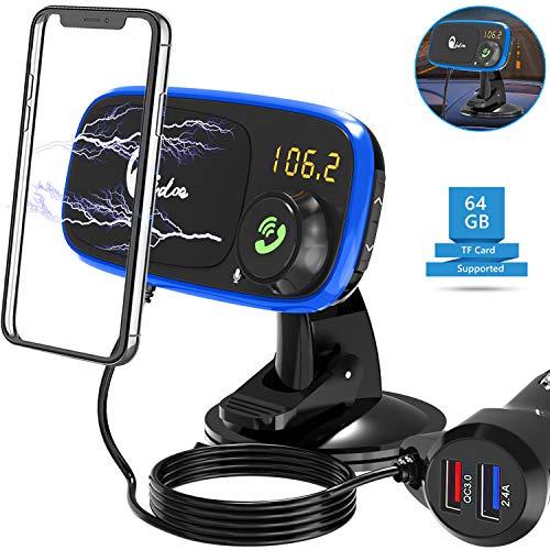 Quick Charge 3.0 Auto Ladegerät Halterung Magnet, Magnetische KFZ Handyhalter mit Bluetooth FM Radio Transmitter Car Kit mit Freihändiger Anruf, MP3-Musik-Player, Dual USB Zigarettenanzünder Adapter
