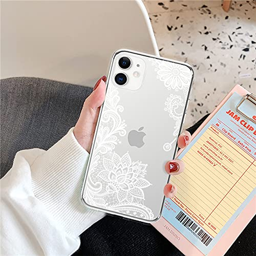 LIUYAWEI Funda de teléfono Transparente Suave de TPU para iPhone 11 Pro MAX X XR XS MAX 6 6S 7 8 Plus 5 5S SE 2020 Nueva Contraportada de Flor de Vid, Blanco, para iPhone SE 2020