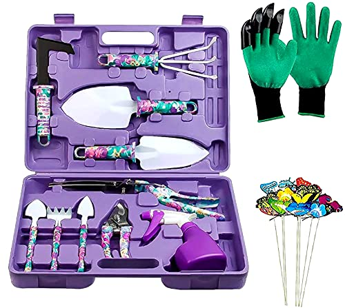 DM Garden Tools Set, 35 PCS Gardening Tools, Ergonomic Handle Trowel Rake Weeder Pruner Shears Sprayer, Garden Hand Tools with Carrying Case Gardening Gifts for Women (Purple Floral)