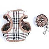 LAPHSODA(ラフソーダ) ペット 用品 犬 ハーネス & リード 胸あて 風 ソフト エアーメッシュ チェック 柄 (S サイズ)