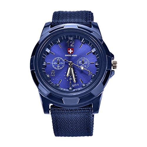 TOOGOO Nuovo Moda Orologi militari a maglia Guarda la terra, il mare e le forze aeree orologio sportivo,blu