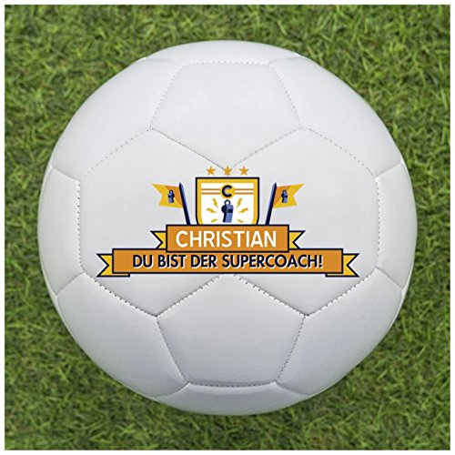 balleristo Fußball Geschenkideen für Trainer - Fußball Geschenk für Coach selbst gestalten und mit eigenem Text oder Namen Bedrucken Lassen [Supercoach]