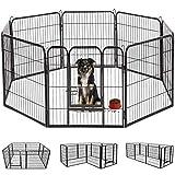 DUDUPET ペットフェンス 大型犬用 中型犬用 ペットケージ パネル8枚 四角ポール 折り畳み式 ペットサークル スチール製 複数連結可能 室内室外兼用 犬小屋 ペット用品 (80X80cm-8枚)