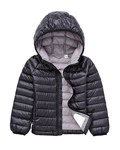 Bambino Giacche Packable di Piuma Leggero Giacca Piumino Giubbotti Inverno Cappotti con Cappuccio Per Ragazzo Ragazza Nero 150