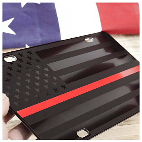 Firefighter Thin Red Line Subdued Almost Invisible American Flag License Plate Matte Black on 1/8 Black Aluminum Composite Heavy Duty Tactical USA Car Tag