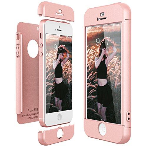 CE-Link Hoesje voor iPhone SE/iPhone 5/iPhone 5s, hardcase, 3-in-1, ultradun, 360, volledige bescherming, beschermhoes, anti-kras, bumper, telefoonhoes, roségoud