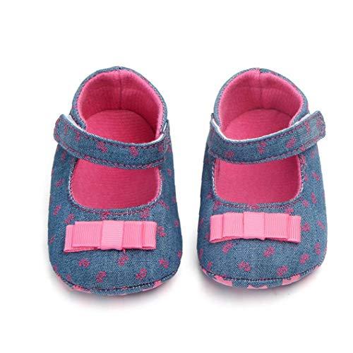 Unisex-Baby-mädchen-Baumwollschuhe Antiskid Sole-Blumen-drucken Magie Aufkleber Indoor Prewalker Schuh-turnschuh-Rosen-rot 12cm