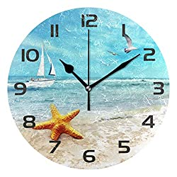 One Bear Beautiful Beach Wall Clock Battery Operated Non Ticking, Stylish Starfish Ship Seagull Arabic Numerals Round Wall Clock for Living Room Bathroom Home Decorative
