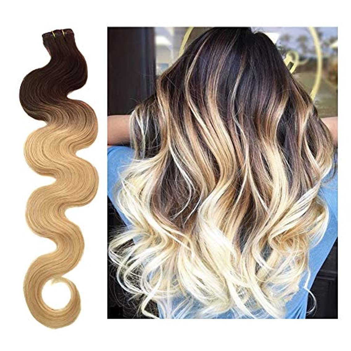 22 Inch Skin Weft Hair Extensions Tape in Hair Extensions Human Hair Body Wave #2T613 Dark Brown Fading to Bleached Blonde Remy Hair Extensions Curly Glue in 20PCS 60G