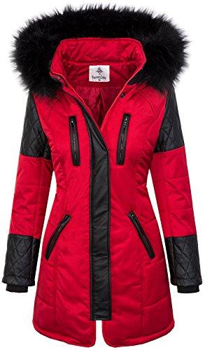 Damen Jacke Outdoor Winterjacke D-355 S-XL, D-355-Rot, Gr. M