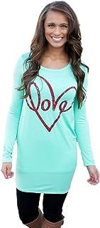 Jade para Mujer Loose Pullover T Shirt Manga Larga Algodón Tops Camisa Blusa