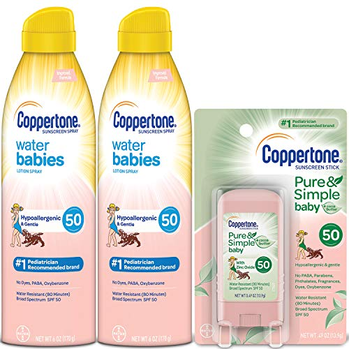 Coppertone WaterBabies SPF 50 Lotion Spray + Pure \u0026amp; Simple Baby Mineral SPF 50 Stick Multipack (6 Ounce Spray, Pack of 2 + 0.5 Ounce Stick)