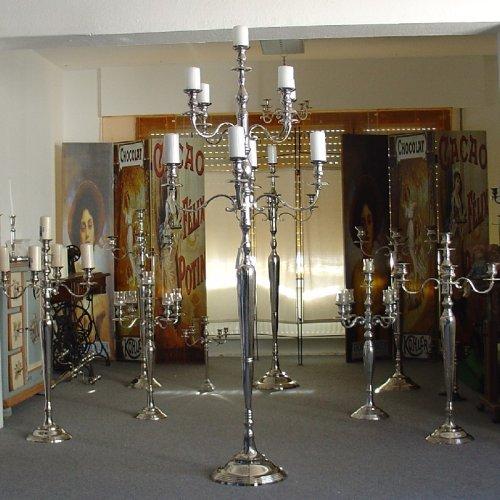 Kerzenleuchter 180cm - 9-flammig Kerzenständer Silber vernickelt mit Samtfuss von Dekowelten