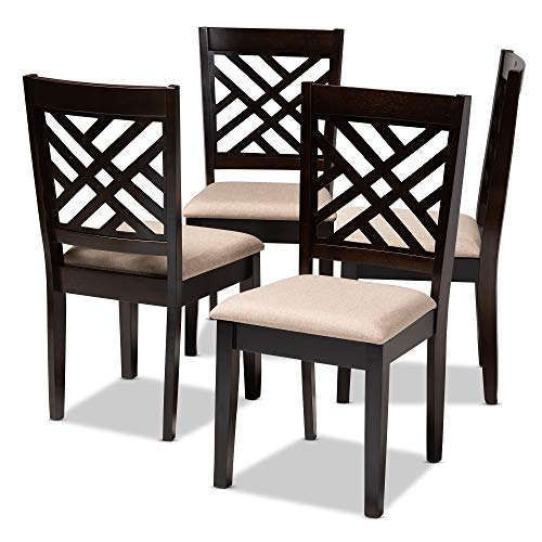 Baxton Studio Dining Chairs, One Size, Sand Brown/Espresso