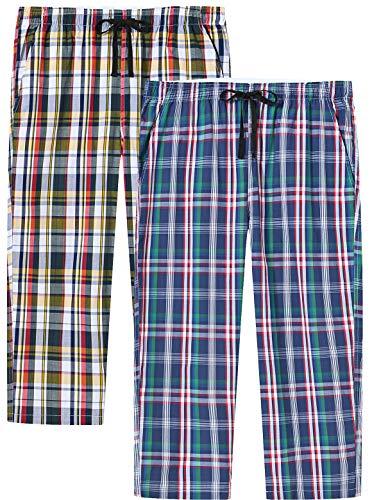 JINSHI Mujer Pantalones Pijamas Cortos Algodón a Cuadros Casual 3/4 Pantalones de Estar Verano Shorts con Bolsillos 2 Pack XL