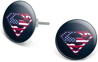 GRAPHICS & MORE Superman USA American Flag Shield Logo Novelty Silver Plated Stud Earrings