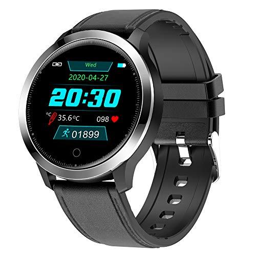 Hombre Reloj Inteligente Bluetooth Pantalla táctil de 1,3'Impermeable Negocio Casual Reloj de Pulsera Ritmo cardíaco Monitor de sueño Podómetro Calorías Pulsera para iOS/Android,Negro