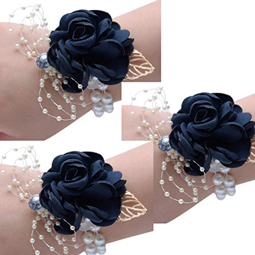 Corsages for Wedding Navy,Pack of 3,Wrist Corsage Prom Wrist Flower Corsage Flowers for Wedding Party,Graduation Party (B-Navy Blue)