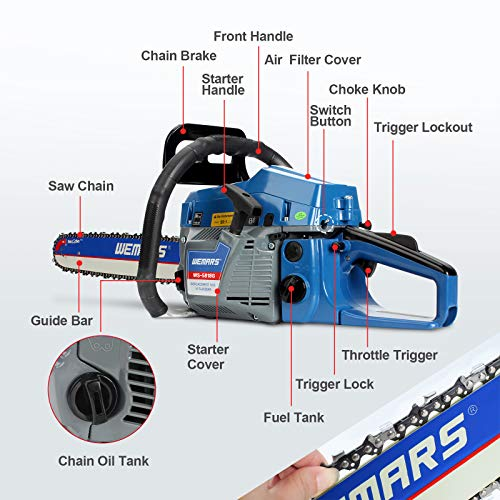 WEMARS Gas Chainsaw 58cc 18 Inch Power Chain Saw 2-Cycle Handed Petrol Chainsaws Gasoline Chain Saws Garden Tool for Cutting Wood Outdoor Home Farm Use