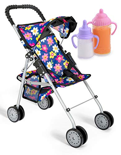Exquisite Buggy, My first Baby Doll Stroller with Flower Design With Basket In The Bottom- 2 Free Magic Bottles Included