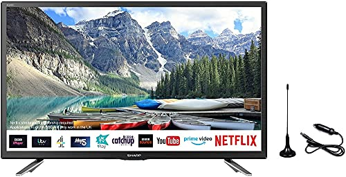 """Sharp 1T-C24DH2KG2FM 24"""" Smart LED TV, 12V/24V Caravan Boat Truck, Freeview Play with Wireless..."""