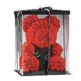 SUPERMOLON Oso Rosas 40cm con Caja Regalo Original - Rose Bear 40cm Oso de Rosas Artificiales - Regalo San Valentín, Enamorados, Aniversario, Amor - Entrega en 24h (Rojo)