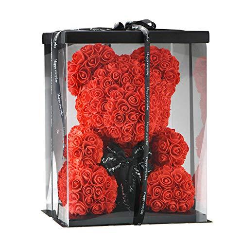 SUPERMOLON Oso de Rosas 40cm con Caja de Regalo - Rose Bear 40cm Oso Rosas Artificiales Foam - Regalo San Valentín, Enamorados, Aniversario, Amor, Cumpleaños, Regalo romántico (Rojo)
