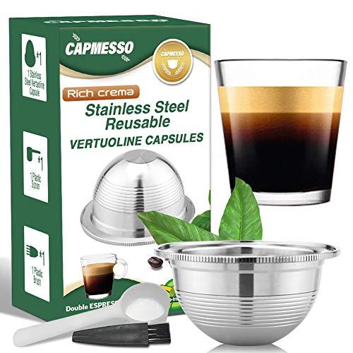 CAPMESSO Coffee Capsule, Reusable Vertuoline Pod Refillable Vertuo Capsules Stainless Steel Compatible with Nespresso Vertuoline GCA1 and Delonghi ENV135 (2.5OZ-Double Espresso Cup(Small)
