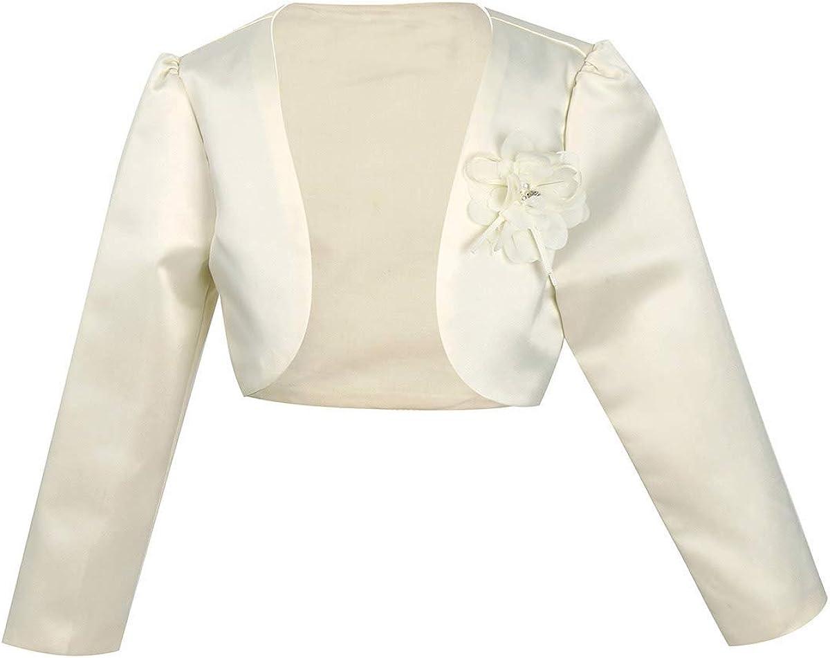 easyforever Kids Basic Long Sleeve Bolero Shrug Short Cardigan Flower Girls Pageant Wedding Party Dress Cover Up Jacket